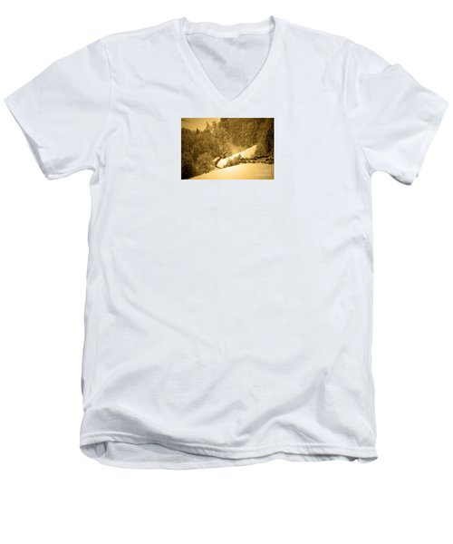 Men's V-Neck T-Shirt featuring the photograph Winter Wonderland In Switzerland - Up The Hills by Susanne Van Hulst