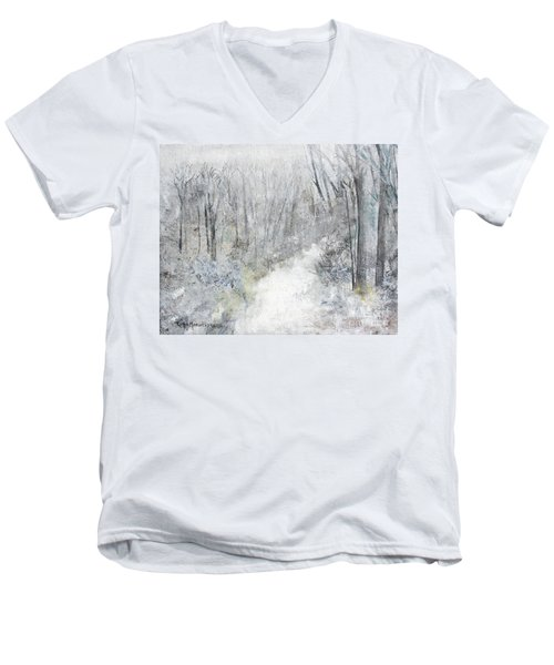Men's V-Neck T-Shirt featuring the painting Winter's Day by Robin Maria Pedrero