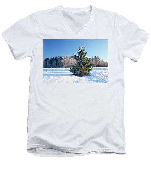 Wintry Fir Tree Men's V-Neck T-Shirt by Teemu Tretjakov