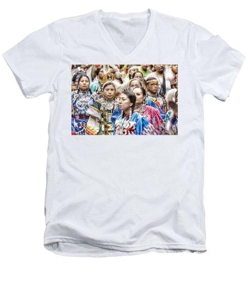 Winyan Strength Men's V-Neck T-Shirt by Clarice Lakota