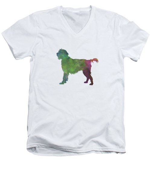 Wirehaired Pointing Griffon Korthals In Watercolor Men's V-Neck T-Shirt by Pablo Romero