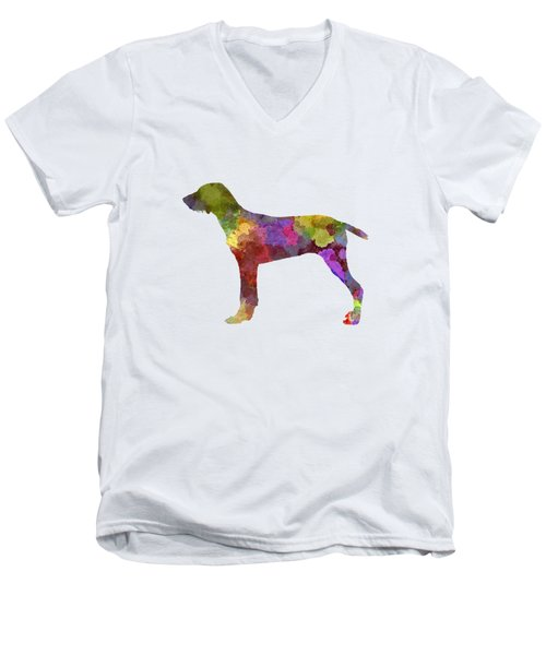 Wirehaired Slovakian Pointer In Watercolor Men's V-Neck T-Shirt by Pablo Romero
