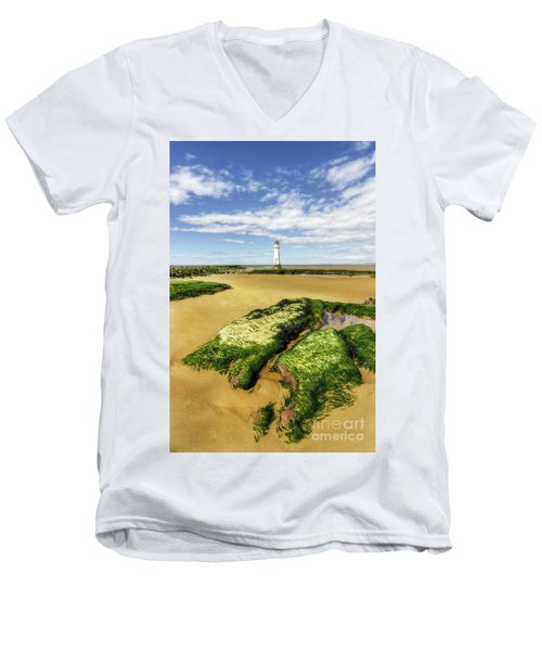 Wirral Lighthouse Men's V-Neck T-Shirt by Ian Mitchell