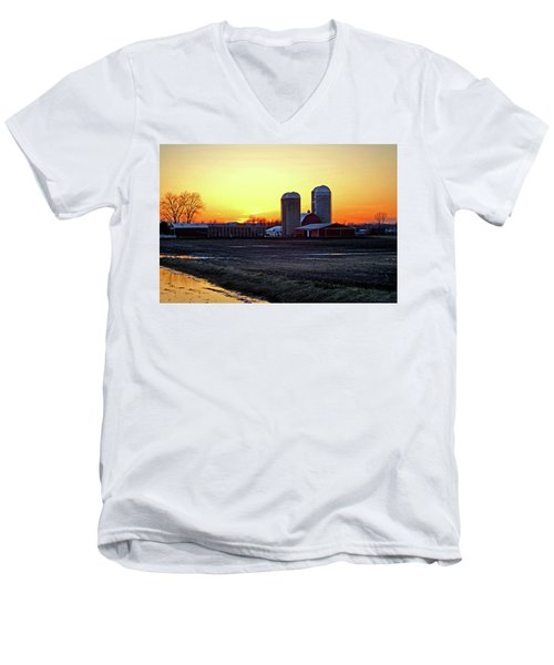Men's V-Neck T-Shirt featuring the photograph Wisconsin At Sunset by Jean Haynes