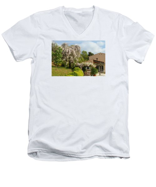 Men's V-Neck T-Shirt featuring the photograph Wisteria by Richard Patmore