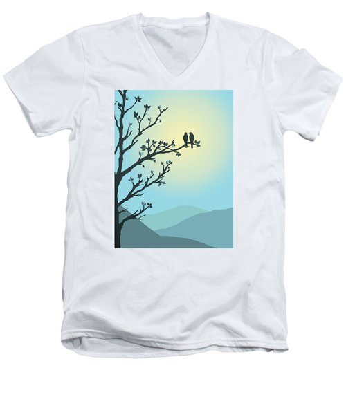 Men's V-Neck T-Shirt featuring the digital art With You By My Side by Christina Lihani