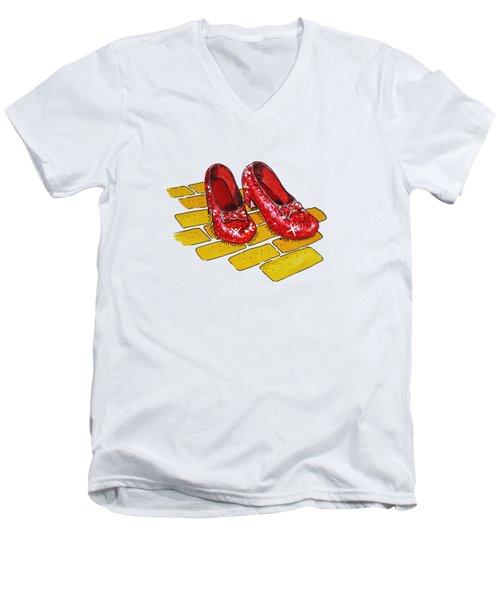 Wizard Of Oz Ruby Slippers Men's V-Neck T-Shirt by Irina Sztukowski