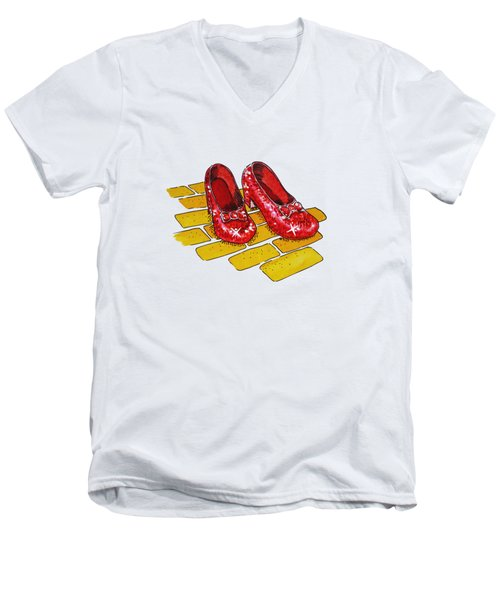 Wizard Of Oz Ruby Slippers Men's V-Neck T-Shirt