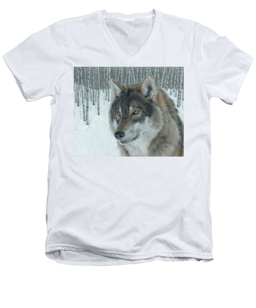 Wolf In Aspens Men's V-Neck T-Shirt