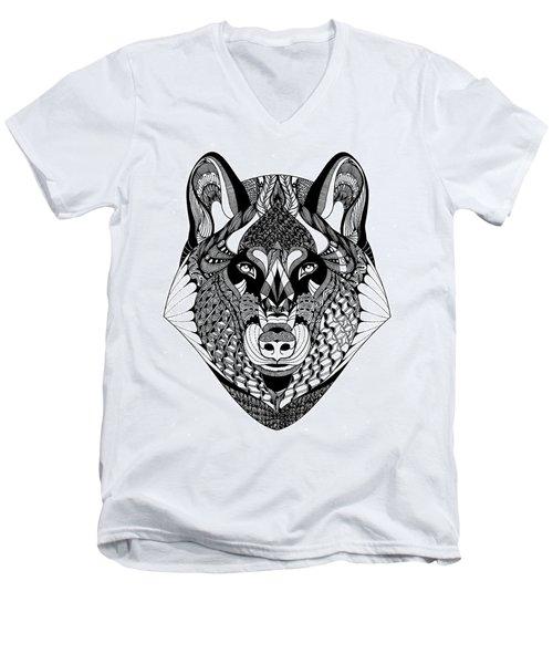 Wolf Men's V-Neck T-Shirt by Jan Steinle