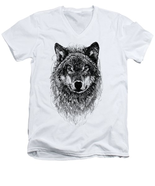 Wolf Men's V-Neck T-Shirt by Michael Volpicelli