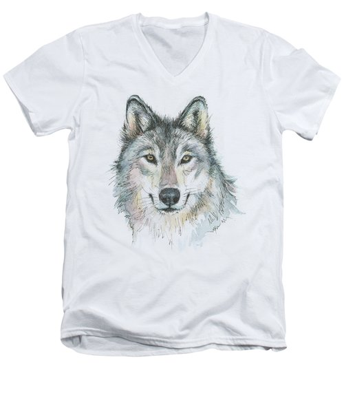 Wolf Men's V-Neck T-Shirt by Olga Shvartsur
