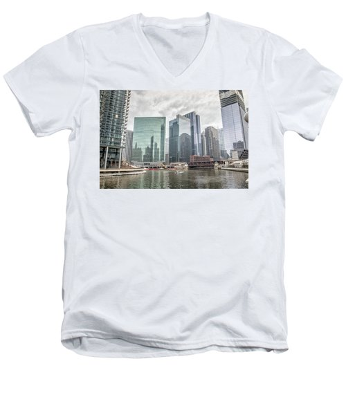Men's V-Neck T-Shirt featuring the photograph Wolf Point Where The Chicago River Splits by Peter Ciro