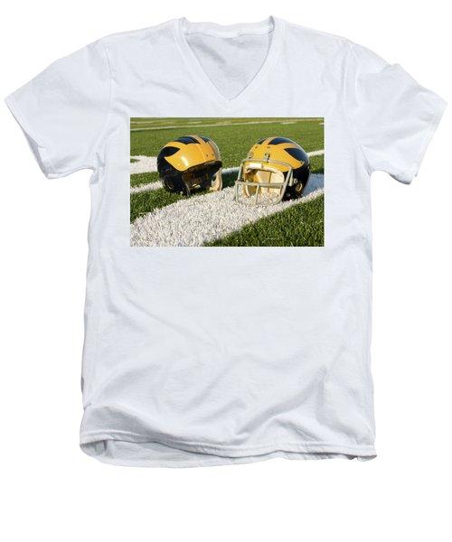 Wolverine Helmets From Different Eras On The Field Men's V-Neck T-Shirt