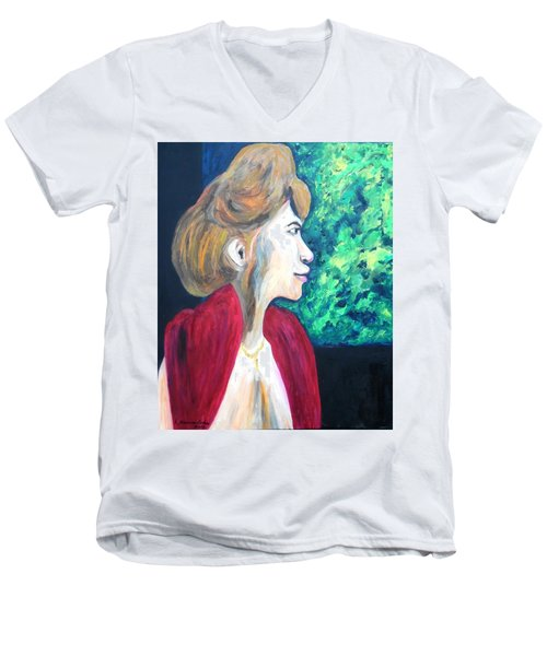 Men's V-Neck T-Shirt featuring the painting Woman At The Window by Esther Newman-Cohen