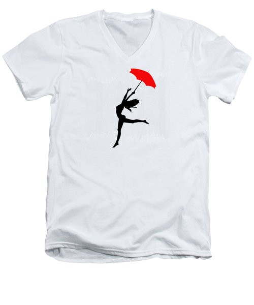 Woman Dancing In The Rain With Red Umbrella Men's V-Neck T-Shirt