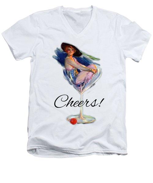 Woman In Wine Glass Men's V-Neck T-Shirt
