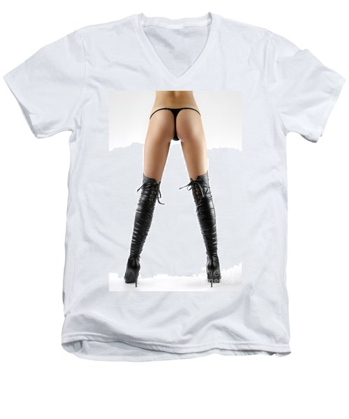 Woman Legs In Black Sexy Thigh High Stiletto Boots Men's V-Neck T-Shirt