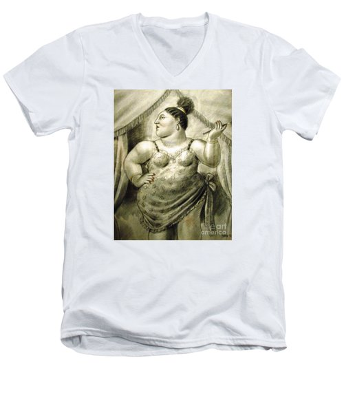 woman performer Botero Men's V-Neck T-Shirt by Ted Pollard