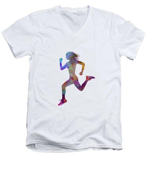 Woman Runner Running Jogger Jogging Silhouette 01 Men's V-Neck T-Shirt by Pablo Romero