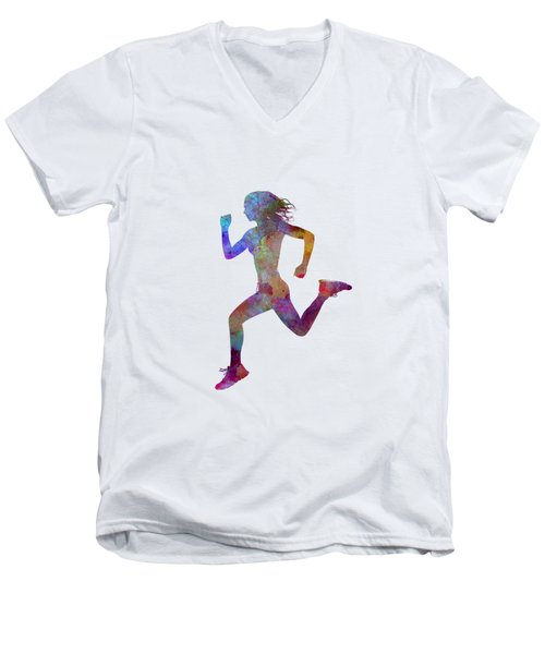 Woman Runner Running Jogger Jogging Silhouette 01 Men's V-Neck T-Shirt