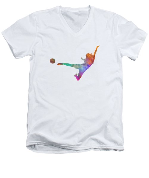 Woman Soccer Player 02 In Watercolor Men's V-Neck T-Shirt by Pablo Romero