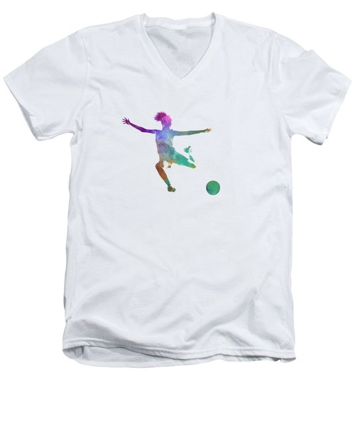 Woman Soccer Player 03 In Watercolor Men's V-Neck T-Shirt by Pablo Romero