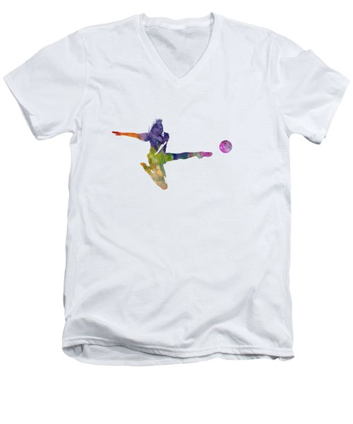 Woman Soccer Player 04 In Watercolor Men's V-Neck T-Shirt by Pablo Romero
