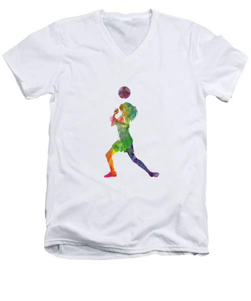 Woman Soccer Player 06 In Watercolor Men's V-Neck T-Shirt