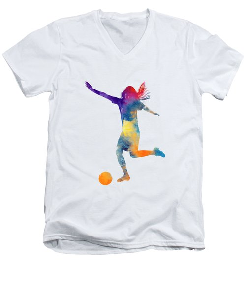 Woman Soccer Player 07 In Watercolor Men's V-Neck T-Shirt