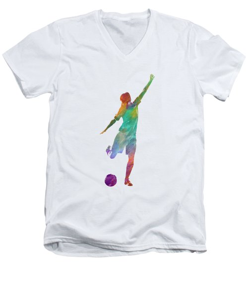Woman Soccer Player 09 In Watercolor Men's V-Neck T-Shirt