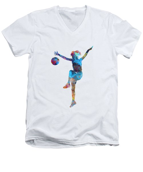 Woman Soccer Player 12 In Watercolor Men's V-Neck T-Shirt