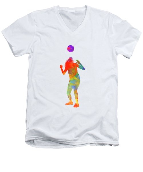 Woman Soccer Player 13 In Watercolor Men's V-Neck T-Shirt