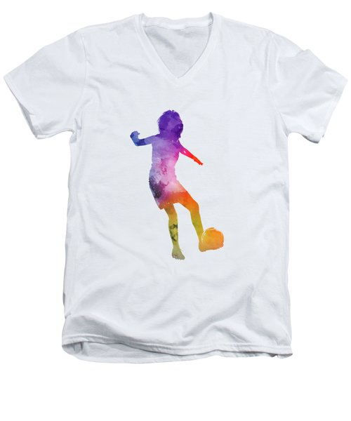 Woman Soccer Player 15 In Watercolor Men's V-Neck T-Shirt