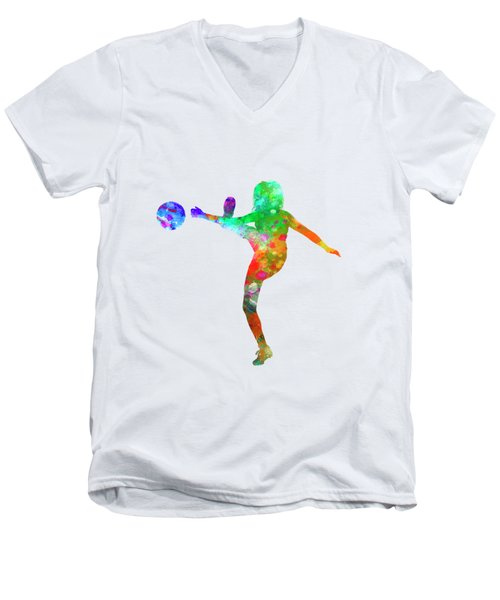 Woman Soccer Player 17 In Watercolor Men's V-Neck T-Shirt by Pablo Romero