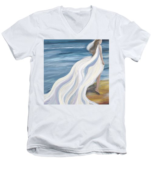 Woman Strolling On The Beach Men's V-Neck T-Shirt