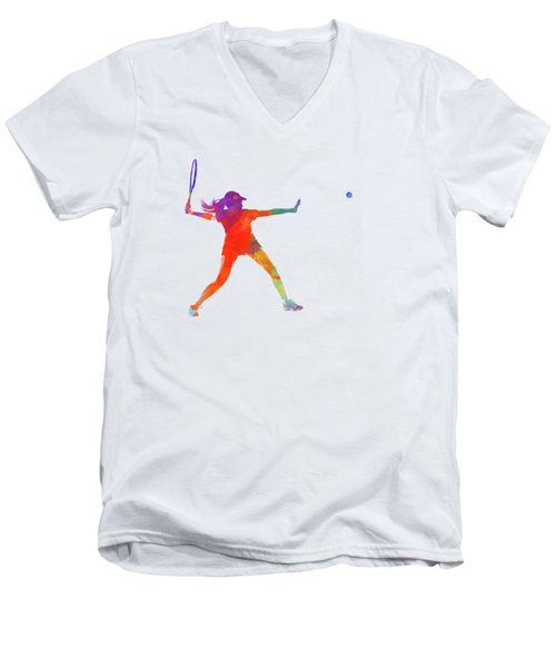Woman Tennis Player 01 In Watercolor Men's V-Neck T-Shirt by Pablo Romero