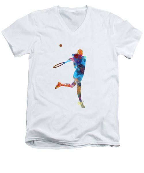 Woman Tennis Player 03 In Watercolor Men's V-Neck T-Shirt by Pablo Romero