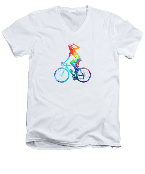 Woman Triathlon Cycling 03 Men's V-Neck T-Shirt