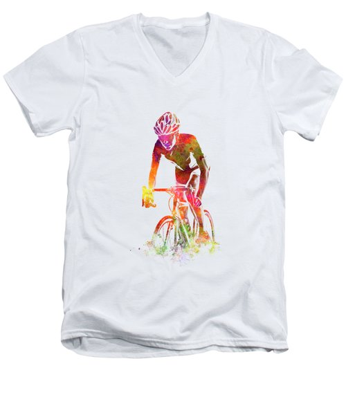 Woman Triathlon Cycling 04 Men's V-Neck T-Shirt