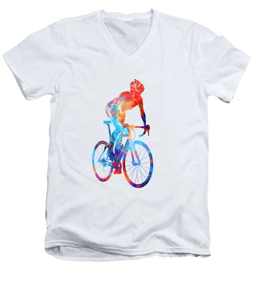 Woman Triathlon Cycling 06 Men's V-Neck T-Shirt