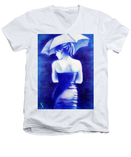 Woman With An Umbrella Blue Men's V-Neck T-Shirt by Bob Baker