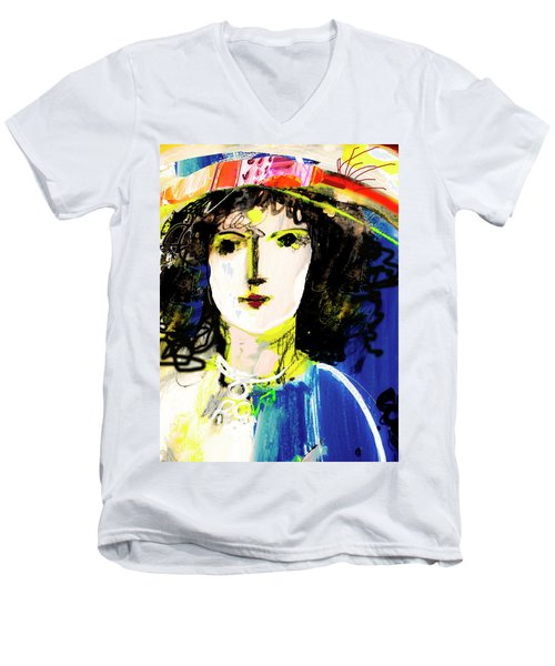 Woman With Party Hat Men's V-Neck T-Shirt