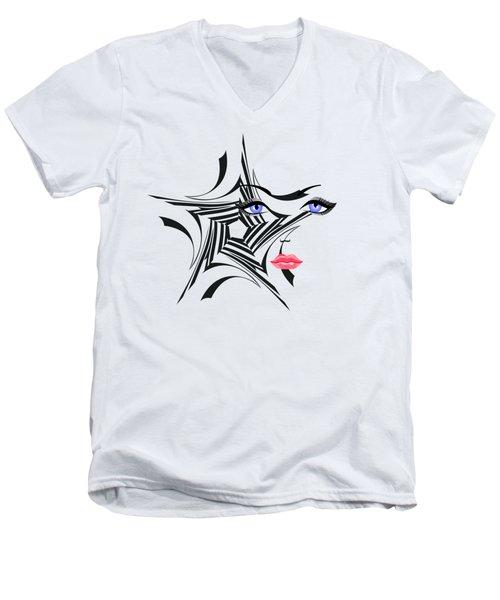Woman With Star Design Men's V-Neck T-Shirt