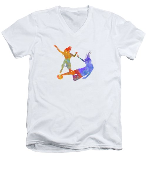 Women Soccer Players 02 In Watercolor Men's V-Neck T-Shirt