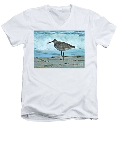 Wonderful Willet  Men's V-Neck T-Shirt by Christy Ricafrente