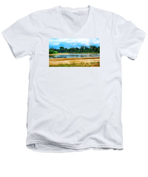 Wooden Boat In Backwaters Jungle Men's V-Neck T-Shirt