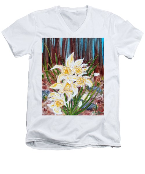 Men's V-Neck T-Shirt featuring the painting Woodland Daffodils by Judith Rhue