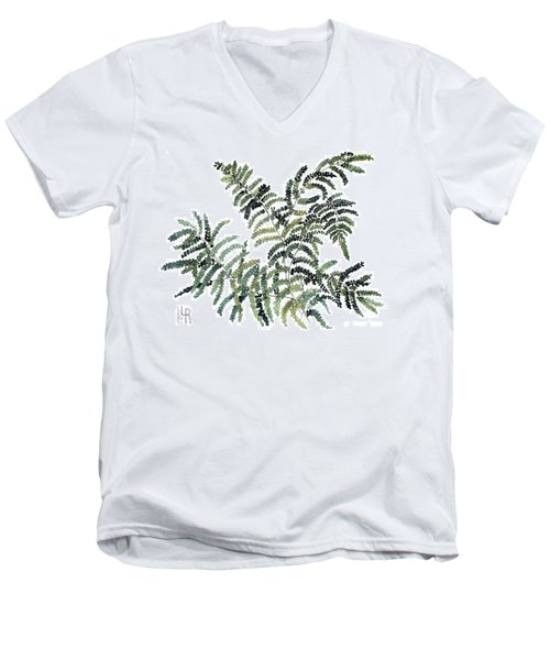 Men's V-Neck T-Shirt featuring the painting Woodland Maiden Fern by Laurie Rohner