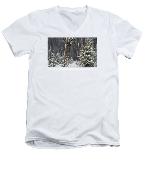 Woodland Snowstorm In Yellowstone Men's V-Neck T-Shirt